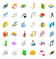 College icons set isometric style vector