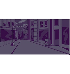 Comics night city street scene vector