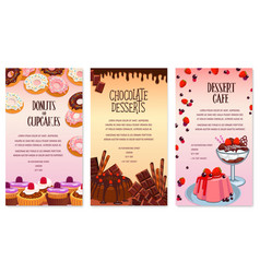 desserts menu template for bakery or cafe vector image vector image