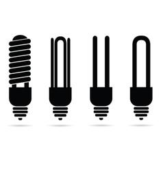 Ecology ligh bulb black silhouette vector