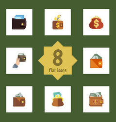 flat icon wallet set of pouch payment billfold vector image vector image