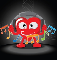 funny heart listening music vector image