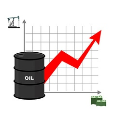 Graph of oil and dollars barrel with oil and vector