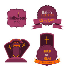 halloween badges and labels set isolated sign vector image