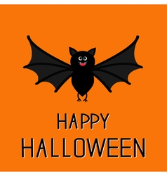 Happy halloween card cute bat flying big wings vector