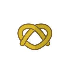 Isolated pretzel flat icon cookie element vector