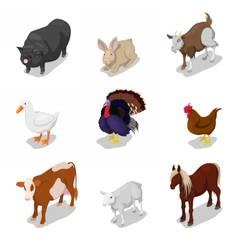Isometric Farm Animals Set with Cow Rabbit vector image vector image