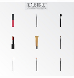 Realistic brush brow makeup tool eye paintbrush vector