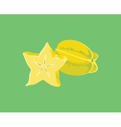 star fruit single isolated with green background vector image vector image