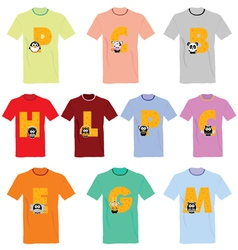 T-shirts with pictures of animals and words on it vector image