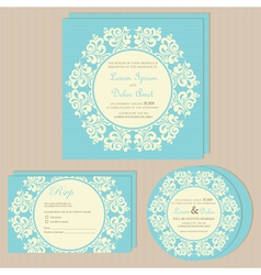 Wedding invitations blue set vector