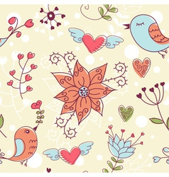Love seamless texture with flowers and birds vector image