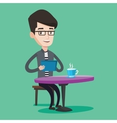 Man surfing in the social network in cafe vector image
