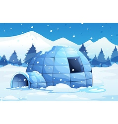 Igloo in the north pole vector image