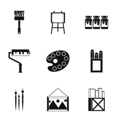 Creativity art icons set simple style vector