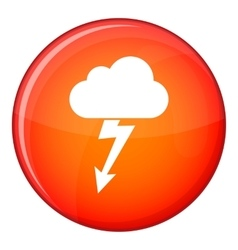 Cloud with lightning icon flat style vector