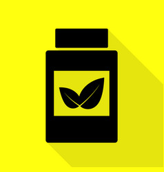 Supplements container sign black icon with flat vector
