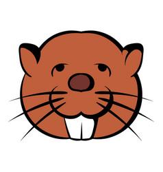 head of beaver icon cartoon vector image