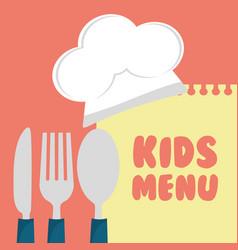 kids menu cuttlery kitchen design vector image