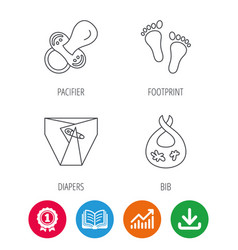 pacifier diapers and footprint icons vector image