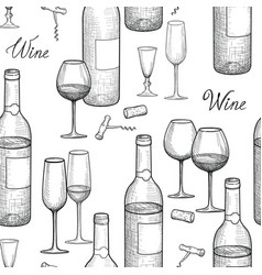 Drink wine seamless engrave pattern wine glass vector