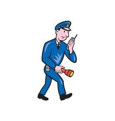 Policeman Torch Radio Cartoon vector image