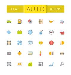 Flat Auto Icons vector image
