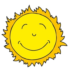 Smiling sun isolated on white background vector
