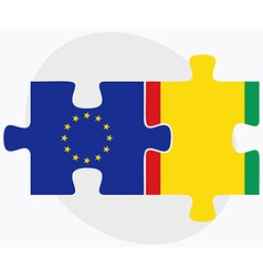 European union and guinea flags in puzzle isolated vector