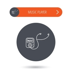 Music player icon songs portable device sign vector