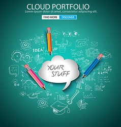 Cloud portfolio concept with doodle design style vector
