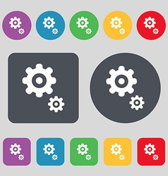 Gears icon sign a set of 12 colored buttons flat vector
