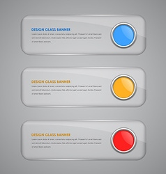 Set of banners with glass button vector