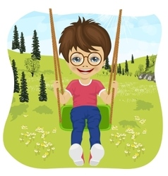 Little boy riding on a swing in summer park vector