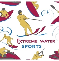 Extreme water sports pattern vector