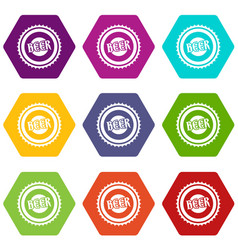 beer bottle cap icon set color hexahedron vector image