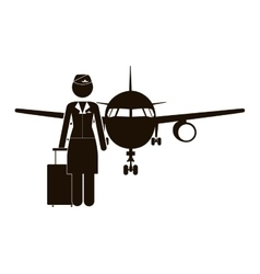 Black silhouette flight attendant and aeroplane vector
