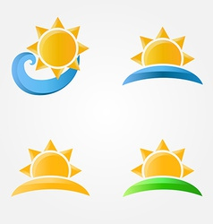 Bright sun icons with sea sand and grass vector image vector image