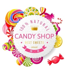 Candy shop label with type design vector