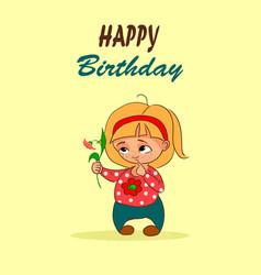 Cartoon birthday card with little girl and vector
