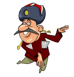 Cartoon caucasian man with a mustache dancing vector