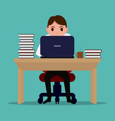 Cartoon diligent office worker at the table vector