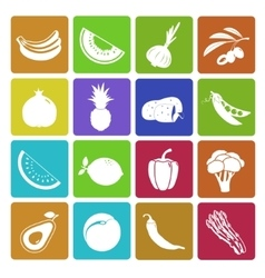 Colorful fruit and vegetable icon set vector