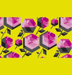 concept hexagon rose flower vector image vector image