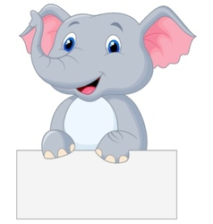 Cute elephant cartoon holding blank sign vector image vector image