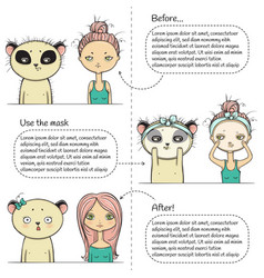 Cute facial treatment three steps instruction vector