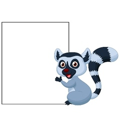 Cute lemur cartoon holding blank sign vector image