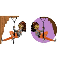 Cute young African American woman mountaineer vector image