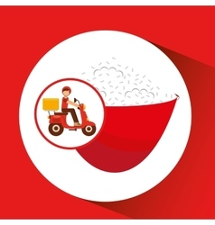 Delivery boy ride motorcycle japanese rice vector