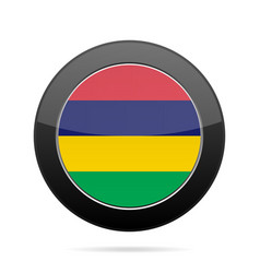flag of mauritius shiny black round button vector image